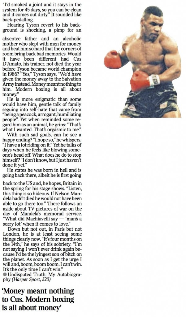 MIKE TYSON; The Times Feature Page 2 12.12.13